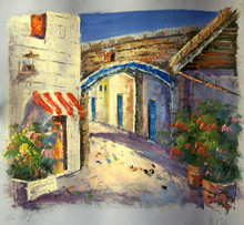 SIDE STREETS W/FLOWERS (RED & WHITE AWNING) smallest OIL PAINTING
