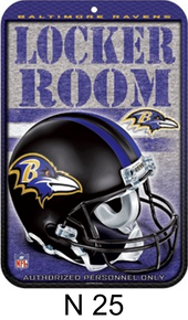 BALTIMORE RAVENS FOOTBALL LOCKER ROOM SIGN EXCELLENT COLOR AND GRAPHICS