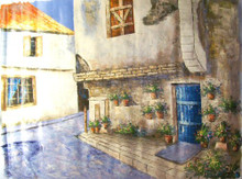STREET SCENE HOUSE WITH BLUE DOOR large OIL PAINTING