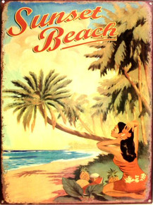 SUNSET BEACH ENAMEL SIGN