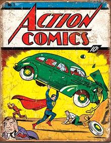 SUPERMAN ACTION COMIC NO.1 SUPER HERO SIGN
