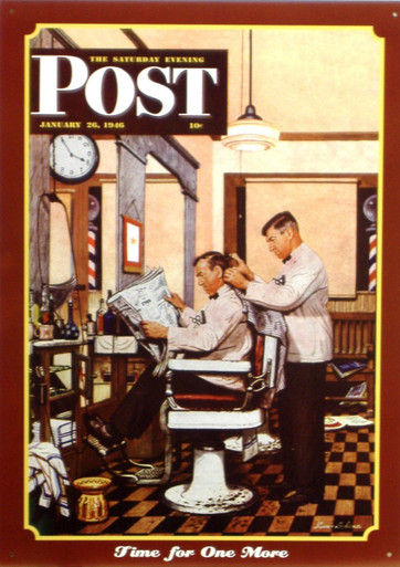 BARBER SHOP SATURDAY EVENING POST COVER METAL SIGN HAS GREAT COLOR AND DETAIL