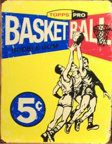 TOPPS 1957 BASKETBALL CARD BOX TOP SIGN