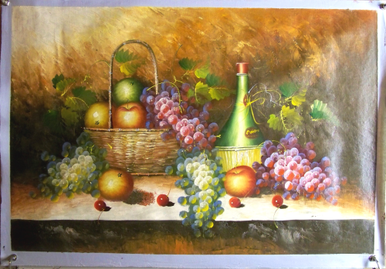 Photo of BASKET OF APPLES, WINE & GRAPES LARGE  OIL PAINTING