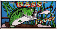 Photo of BASS FEVER METAL LICENSE PLATE