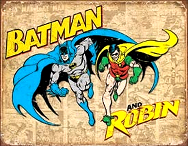 Photo of BATMAN AND ROBIN THE DYNAMIC DUO WITH PHOTO PANELS IN THE BACKGROUND GREAT COLORS & GRAPHICS