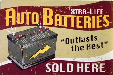 Photo of BATTERIES, OLD SPARKY XTRA-LIFE MUTED COLORS GIVE THIS SIGN AN OLD TIME LOOK