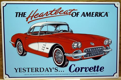 """METAL Sign Size: 17 1/2"""" w x 12"""" h, WITH HOLES IN EACH CORNER FOR EASY MOUNTING COLORFUL AND DETAILED, THIS SIGN MAKES A GREAT ADDITION FOR THE CORVETTE ENTHUSIAST COLLECTION"""