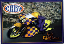 "Sign Size: 16 3/4"" w x 11 3/4"" h  WITH PRE-DRILLED HOLES FOR EASY MOUNTING THIS NHRA METAL SIGN HAS SUPER COLOR AND GRAPHICS, GREAT FOR ANY NHRA FAN'S COLLECTION"