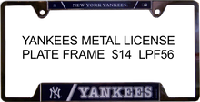 """METAL LICENSE PLATE FRAME 12 1/4"""" W X 6 1/4"""" H X 1/4"""" D  WITH PRE-DRILLED HOLES FOR EASY MOUNTING  A GREAT ADDITION TO ANY NEW YORK GIANTS FOOTBALL FAN'S COLLECTION, SUPER COLORS AND GRAPHICS"""