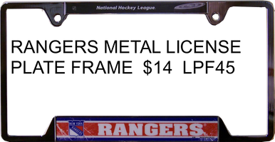 """METAL LICENSE PLATE FRAME 12 1/4"""" W X 6 1/4"""" H X 1/4"""" D  WITH PRE-DRILLED HOLES FOR EASY MOUNTING  A GREAT ADDITION TO ANY NEW YORK RANGERS HOCKEY FAN'S COLLECTION, SUPER COLORS AND GRAPHICS"""