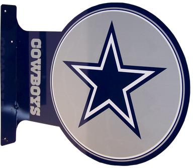 """READY TO HANG ON WALL, LOGO VIEWABLE FROM BOTH SIDED,  13 1/2"""" H X 17 1/2"""" L   (FLANGE MEASURES 13 1/2"""" X 2"""") with holes for easy mounting   A SUPER ADDITION FOR ANY AVID DALLAS COWBOYS FOOTBAL FAN'S COLLECTION, GREAT COLORS AND GRAPHICS"""