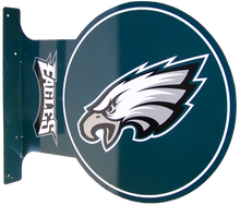 """READY TO HANG ON WALL, LOGO VIEWABLE FROM BOTH SIDED,  13 1/2"""" H X 17 1/2"""" L   (FLANGE MEASURES 13 1/2"""" X 2"""") with holes for easy mounting  A SUPER ADDITION FOR ANY AVID PHILADELPHIA EAGLES FOOTBAL FAN'S COLLECTION, GREAT COLORS AND GRAPHICS"""