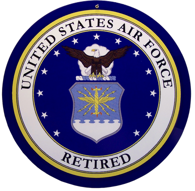 """HEAVY DUTY STEEL SIGNS WITH VERY DURABLE POWER COATED FINISH  14"""" Dia.  WITH MOUNTING HOLE PRE-DRILLED   NOSTALGIC MILITARY SIGN ANY RETIRED AIRFORCE PERSONEL WOULD BE PROUD TO ADD TO THIER COLLECTION.   THIS IS A SPECIAL ORDER SIGN, NORMALY IT TAKES 2-3 WEEKS FOR DELIVERY."""