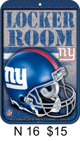 """HEAVY DUTY PLASTIC FOOTBALL, 10 3/4"""" w X 16 1/2"""" h  WITH HOLES FOR EASY MOUNTING  SUPER ADDITION TO ANY NEW YORK GIANTS FOOTBALL FAN'S COLLECTION,  GREAT COLORS AND GRAPHICS"""
