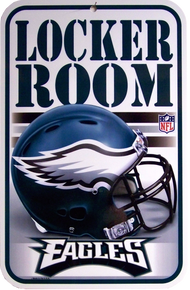 """HEAVY DUTY PLASTIC FOOTBALL SIGN,  10 3/4"""" w X 16 1/2"""" h  WITH HOLE(S) FOR EASY MOUNTING   A GREAT ADDITION TO ANY PHILADELPHIA EAGLES FAN'S COLLECTION, SUPER COLOR AND DETAIL"""