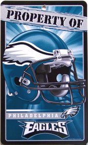 """DURABLE PLASTIC FOOTBALL SIGN, 7 1/4"""" w X 12"""" h  with hole(s) for easy display  GREAT SIGN FOR A PHILADELPHIA EAGLES FAN'S COLLECTION. EXCELLENT COLOR AND GRAPHICS"""