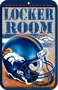 """METAL FOOTBALL SIGN 10 3/4"""" w X 16 1/2"""" h    WITHHOLE(S) FOR EASY MOUNTING  GREAT ADDITION TO ANY DENVER BRONCOS COLLECTION.  COLORFUL AND GREATLY DETAILEDHEAVY DUTY PLASTIC FOOTBALL SIGN"""