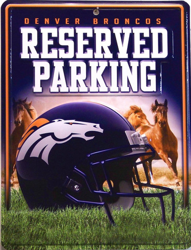 """METAL FOOTBALL SIGN   8  1/2"""" w X 11"""" h  WITH HOLE(S) FOR EASY MOUNTING  GREAT ADDITION TO ANY DENVER BRONCOS COLLECTION.  COLORFUL AND GREATLY DETAILED"""