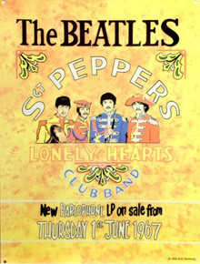 Photo of BEATLES SGT. PEPPER SIGN, FROM THE ALBUM RELEASE POSTER