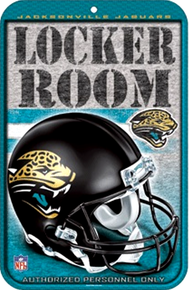 """HEAVY DUTY DURABLE PLASTIC FOOTBALL SIGN 10 3/4"""" w X 16 1/2"""" h  GREAT SIGN FOR THE JACKSONVILLE JAGUAR FOOT BALL FAN'S COLLECTION, GREAT COLORS AND GRAPHICS"""