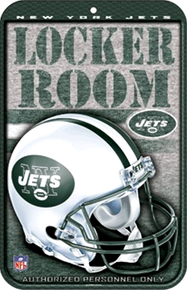 """HEAVY DUTY DURABLE PLASTIC FOOTBALL SIGN  10 3/4"""" w X 16 1/2"""" h  GREAT FOR THE NEW YORK JETS FOOTBALL FAN'S COLLECTION, COLORFUL WITH GREAT DETAILS"""