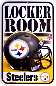 """HEAVY DUTY DURABLE PLASTIC FOOTBALL SIGN   10 3/4"""" w X 16 1/2"""" h  GREAT SIGN FOR THE PITTSBURGH STEERERS FANS, GREAT COLOR AND DETAILS"""