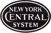 """HEAVY STEEL PLATE WITH PORCELAIN FINISH 11 1/2"""" W X 7 1/2"""" H  THE CLASSIC NEW YORK CENTRAL OVAL SIGN IS A SOUGHT AFTER PIECE WITH MANY RAILROAD COLLECTORS"""