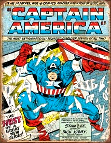 """METAL SIGNS 12 1/2"""" W X 16"""" H with holes in each corner for easy mounting  CAPTAIN AMERICA WITH EXPLOSIVE COLORS AND GRAPHICS MAKES THIS A MUST HAVE FOR YOUR COLLECTION"""