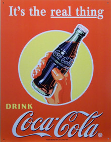"""METAL SIGN 12 1/2"""" W X 16"""" H with holes in each corner.  THIS NOSTALGIC COCA-COLA METAL SIGN HAS GREAT GRAPHICS AND ATTENTION TO DETAIL"""
