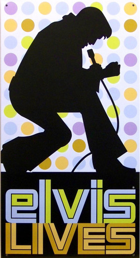 """METAL SIGN 8 1/2"""" W X 16"""" H, with holes in each corner for easy mounting.  CLASSIC ELVIS SIGN, GREAT COLORS AND GRAPHICS TO REMEMBER THE KING, LAST ONE, THIS SIGN IS OUT OF PRODUCTION"""