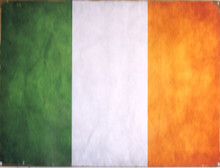 """ENAMEL SIGN MEASURES 16"""" W X 12"""" H ON HEAVY METAL HOLES IN EACH CORNER MAKE IT EASY TO MOUNT COLORS ARE MUTED AND HAS AN OLD IRISH FLAG LOOK"""