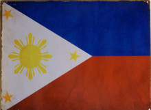 """ENAMEL SIGN MEASURES 16"""" W X 12"""" H ON HEAVY METAL HOLES IN EACH CORNER MAKE IT EASY TO MOUNT MUTED COLORS MAKE THIS PHILIPPINE FLAG LOOK OLD"""
