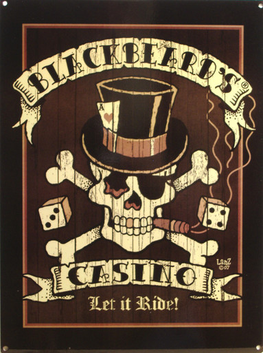"""RICH DARK PIRATE COLORS WITH SKULL AND CROSS BONES WEARING A TOP HAT, DICE IN THE BACKGROUND AND """"LET IT RIDE"""" ACROSS THE BOTTOM  GREAT DETAILS"""