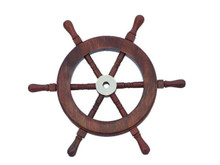 """12"""" WOOD AND BRASS SHIPS WHEEL BEAUTIFULLY HANDCRAFTED ITEM"""