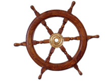 """24"""" WOOD AND BRASS SHIPS WHEEL BEAUTIFULLY HANDCRAFTED ITEM"""