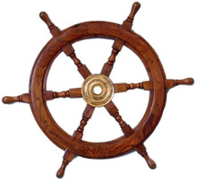 """36"""" WOOD AND BRASS SHIPS WHEEL BEAUTIFULLY HANDCRAFTED ITEM"""
