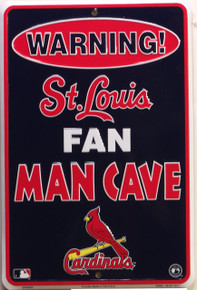 """ST. LOUIS CARDINALS MAN CAVE SIGN SMALL METAL SIGN APOX 8"""" X 12"""" WITH HOLE(S) FOR EASY MOUNTING"""