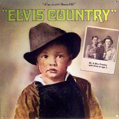 """A REPRODUCTION OF THE ALBUM COVER """"ELVIS COUNTRY"""",  SHOWING A PICTURE OF ELVES AT 2 YEARS AND HIS PARENTS PICTURE IN THE BACKGROUND, GREAT COLOR AND DETAILS"""