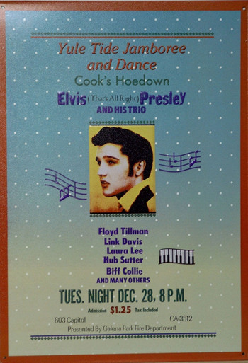 """A VERY YOUNG ELVIS POSTER FROM THE """"THAT'S ALLRIGHT"""" ERA THIS SIGN IS OUT OF PRINT WE HAVE ONLY 3 LEFT."""