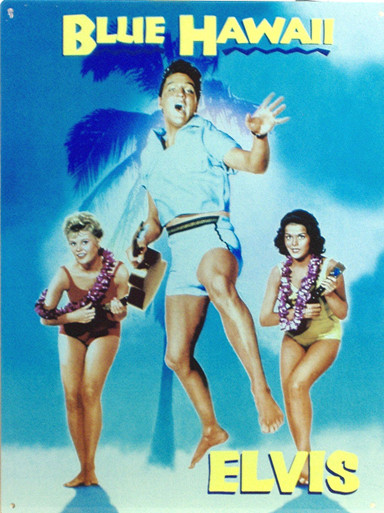 """FROM THE MOVIE POSTER """"BLUE HAWAII, THIS ENAMEL SIGN HAS GREAT COLOR AND DETAIL"""