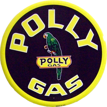 Round metal gas sign has Great color and details