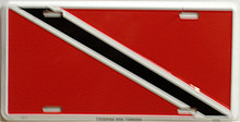 """TRINADAD & TOBAGO COLORFUL FLAG, METAL LICENSE PLATE 12"""" X 6""""  WITH HOLES SLOTS CUT FOR EASY MOUNTING"""