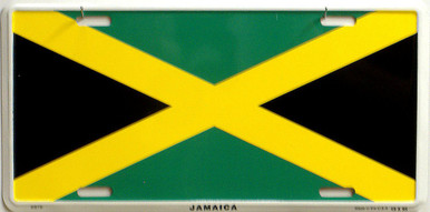 """JAMAICA COLORFUL FLAG, METAL LICENSE PLATE 12"""" X 6""""  WITH HOLES SLOTS CUT FOR EASY MOUNTING"""