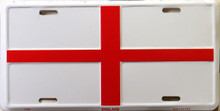 "ENGLISH CROSS COLORFUL FLAG, METAL LICENSE PLATE 12"" X 6""  WITH HOLES SLOTS CUT FOR EASY MOUNTING"
