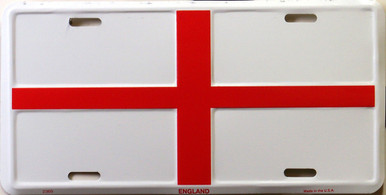 """ENGLISH CROSS COLORFUL FLAG, METAL LICENSE PLATE 12"""" X 6""""  WITH HOLES SLOTS CUT FOR EASY MOUNTING"""