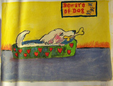 Photo of BEWARE OF DOG SMALL SIZED OIL PAINTING