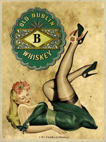"""THIS HEAVY METAL ENAMEL SIGN MEASURES 12"""" W X 16"""" H AND HAS HOLES IN EACH CORNER FOR EASY MOUNTING.  IRISH WHISKEY PIN-UP GIRL"""