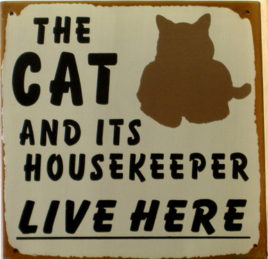 """THIS VINTAGE, HUMOROUS TIN SIGN MEASURES 9 3/4"""" W X 9 3/4"""" H AND HAS HOLES IN EACH CORNER"""
