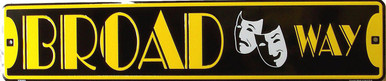 """BROADWAY CLASSIC TIN STREET SIGN APOX 24"""" W X 5"""" H  GREAT FOR ANYWHERE MOVIES ARE VIEWED OR PLAYS ARE PERFORMED HAS HOLES FOR EASY MOUNTING, GREAT COLORS AND SHARP DETAILS"""